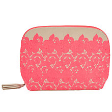 Buy John Lewis Sari Emblem Large Pink Toiletries Bag, Neon Pink Online at johnlewis.com