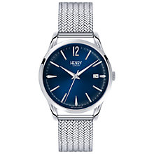 Buy Henry London HL39-M-0029 Unisex Knightsbridge Date Bracelet Strap Watch, Silver/Navy Online at johnlewis.com