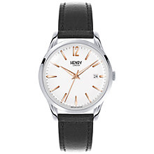 Buy Henry London HL39-S-0005 Unisex Highgate Date Leather Strap Watch, Black/White Online at johnlewis.com