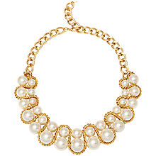 Buy Adele Marie Large Faux Pearl Necklace, Gold Online at johnlewis.com
