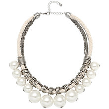 Buy Adele Marie Mesh Rope and Plaited Cotton Rope Faux Pearl Necklace, Silver/White Online at johnlewis.com