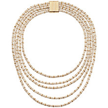 Buy Adele Marie 5 Row Rope Magnetic Bar Catch Necklace, White/Gold Online at johnlewis.com