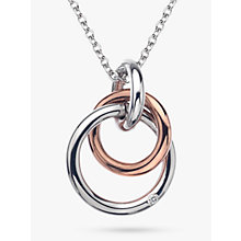 Buy Hot Diamonds Eternity Interlock Pendant Necklace, Silver/Rose Gold Online at johnlewis.com