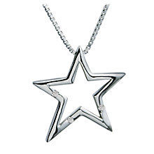 Buy Hot Diamonds Open Star Pendant Necklace, Silver Online at johnlewis.com