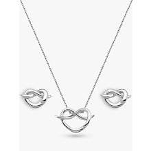 Buy Hot Diamonds Twist Heart Pendant Necklace and Stud Earrings Gift Set, Silver Online at johnlewis.com