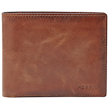 Buy Fossil Derrick Large Coin Pocket Bifold Wallet, Brown Online at johnlewis.com