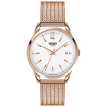 Buy Henry London HL39-M-0026 Unisex Richmond Date Bracelet Strap Watch, Rose Gold/White Online at johnlewis.com