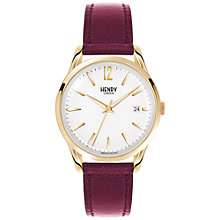 Buy Henry London HL39-S-0064 Women's Holborn Date Leather Strap Watch, Burgundy/White Online at johnlewis.com