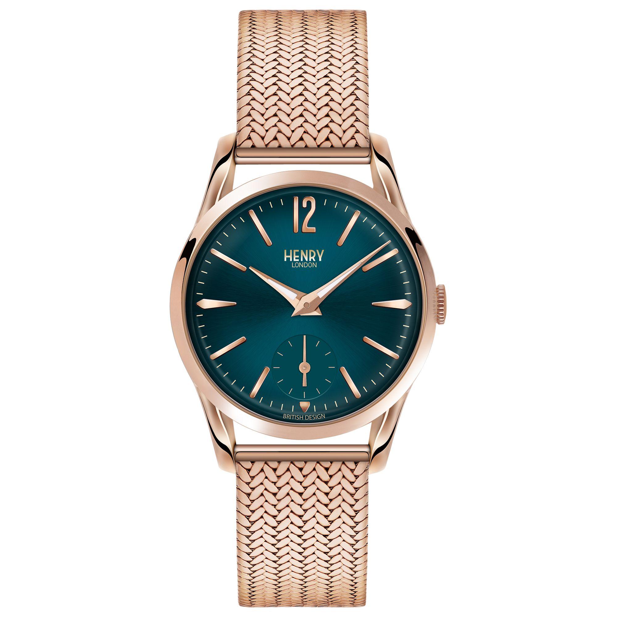 Henry London Henry London HL30-UM-0130 Women's Stratford Bracelet Strap Watch, Rose Gold/Teal