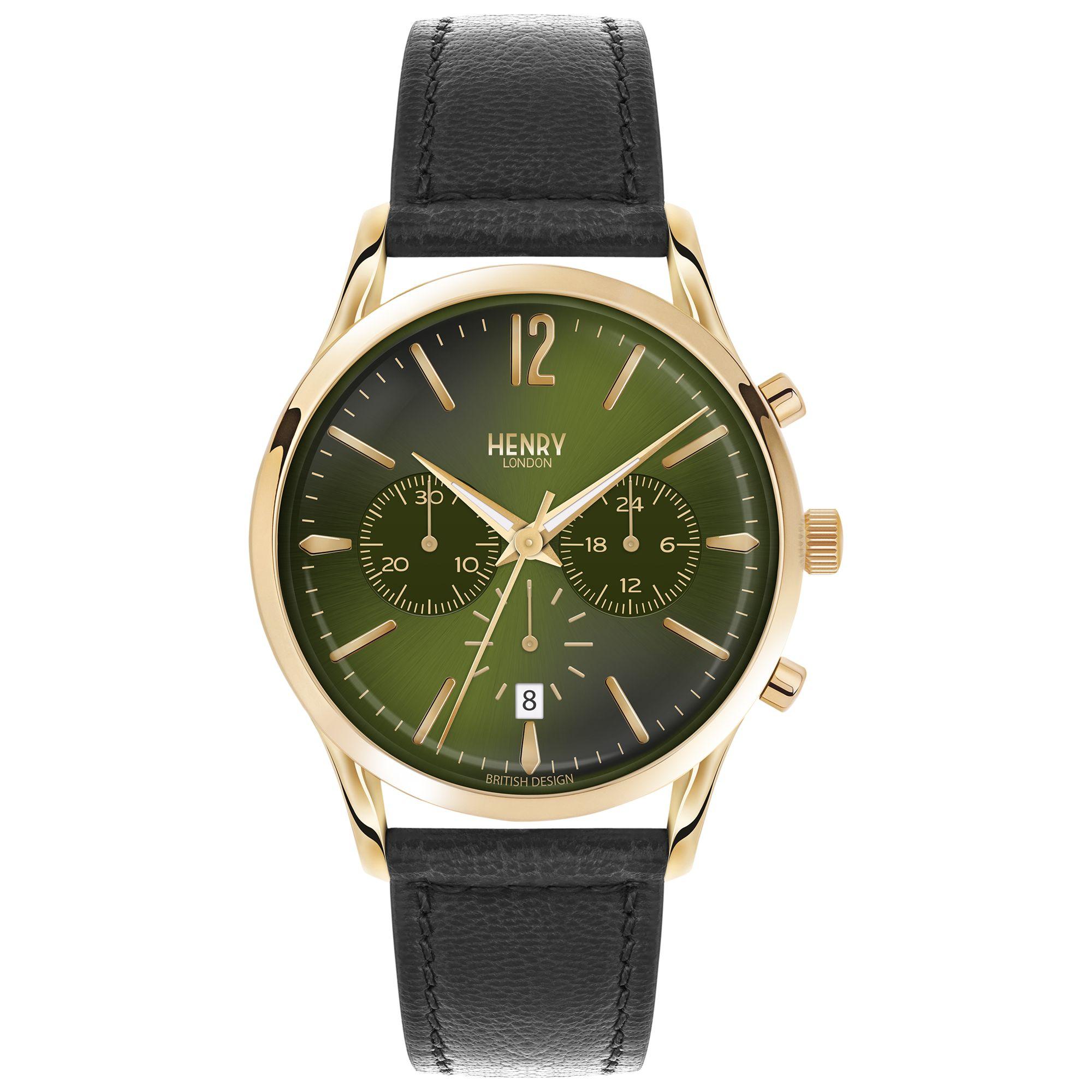 Henry London Henry London HL41-CS-0106 Men's Chiswick Chronograph Date Leather Strap Watch, Black/Dark Green