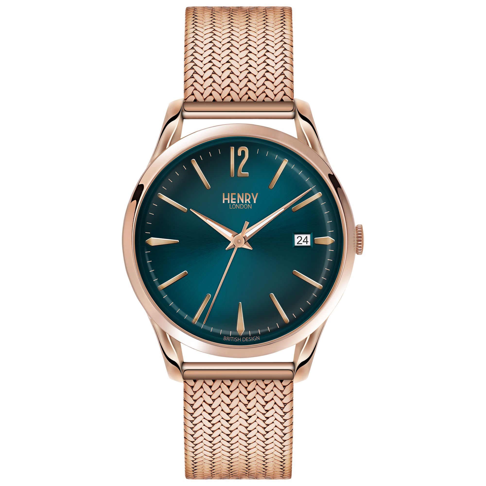 Henry London Henry London HL39-M-0136 Women's Stratford Date Bracelet Strap Watch, Rose Gold/Teal