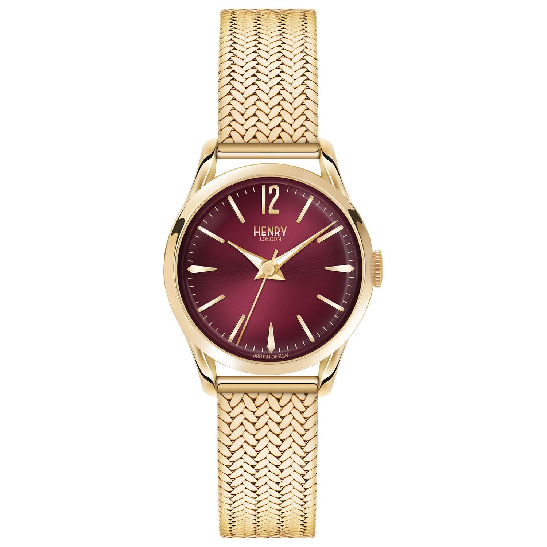 Henry London Henry London HL25-M-0058 Women's Holborn Bracelet Strap Watch, Gold/Claret