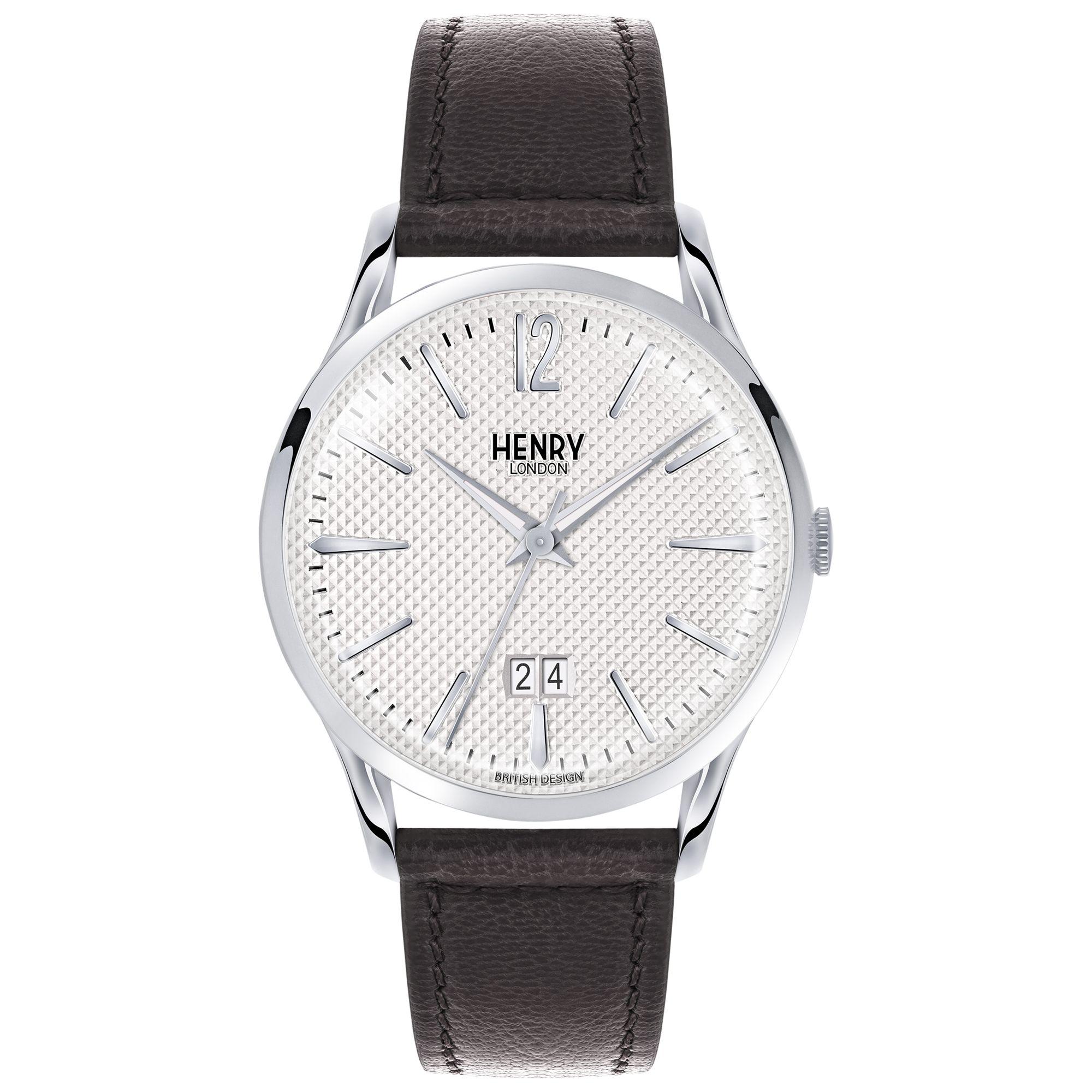Henry London Henry London HL41-JS-0021 Men's Edgware Jumbo Date Leather Strap Watch, Black/White