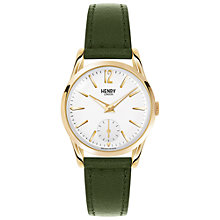 Buy Henry London HL30-US-0096 Women's Chiswick Leather Strap Watch, Dark Green/White Online at johnlewis.com