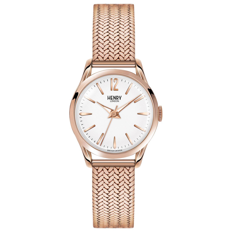 Henry London Henry London HL25-M-0022 Women's Richmond Bracelet Strap Watch, Rose Gold/White