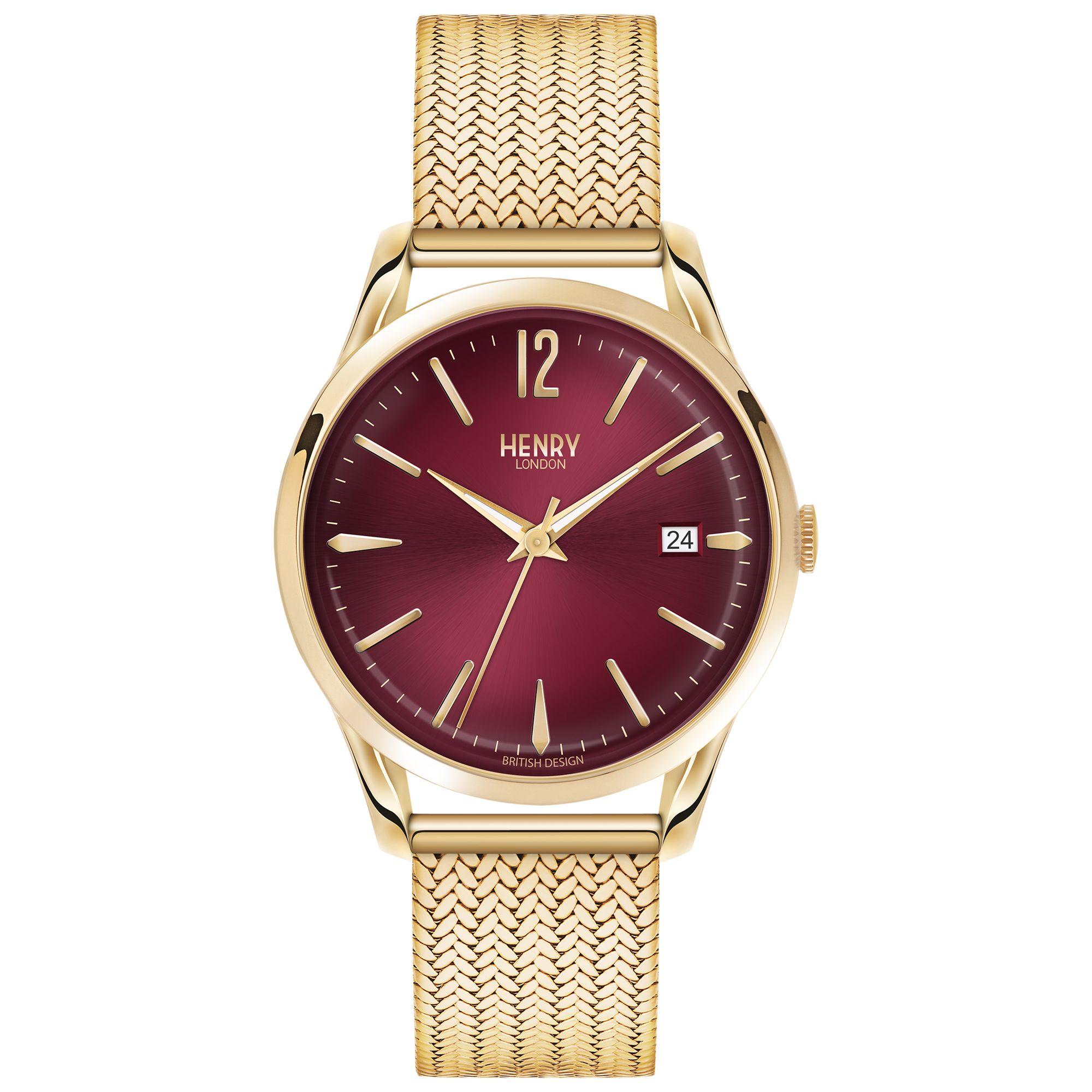 Henry London Henry London HL39-M-0062 Women's Holborn Date Bracelet Strap Watch, Gold/Claret