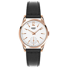 Buy Henry London HL30-US-0024 Women's Richmond Leather Strap Watch, Black/White Online at johnlewis.com