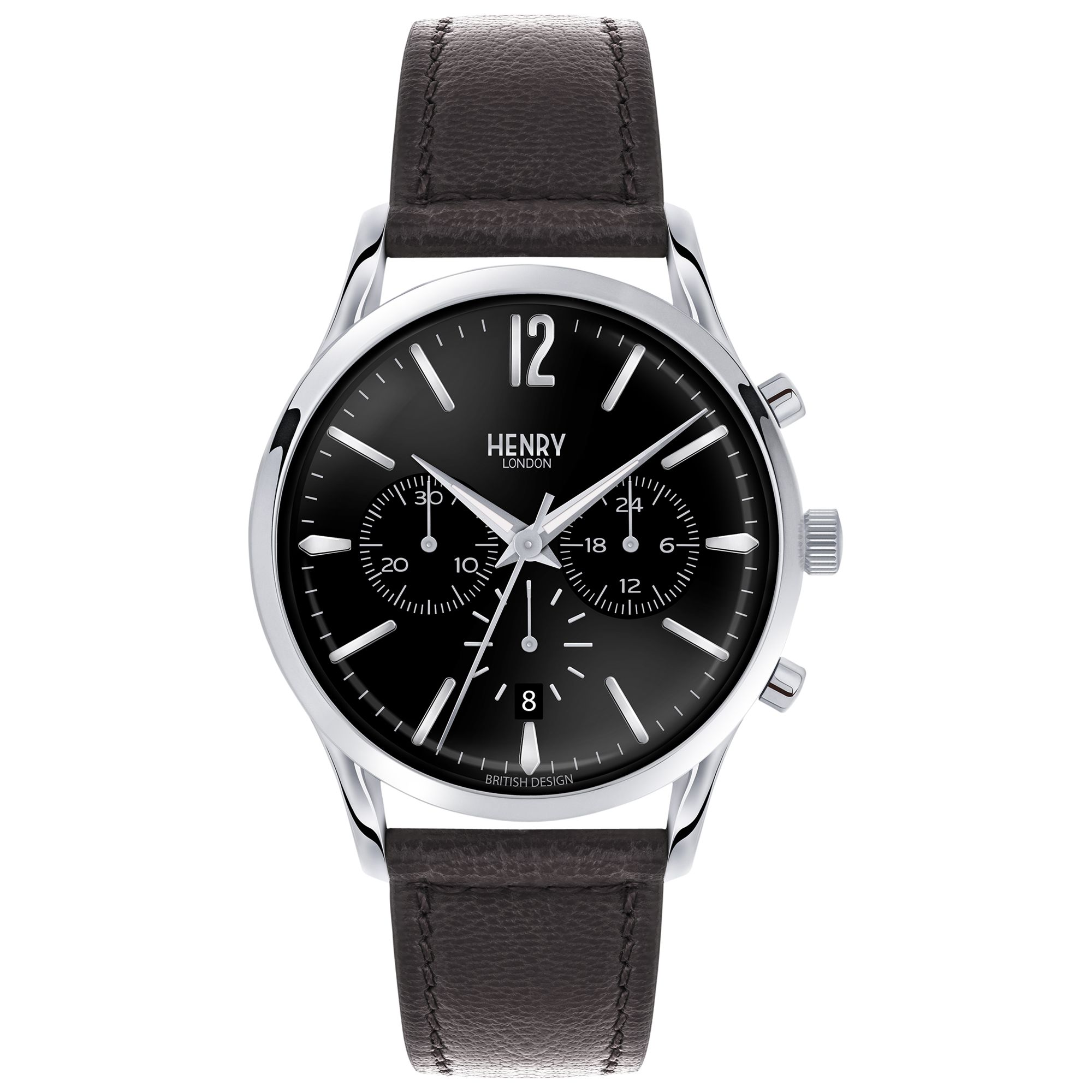 Henry London Henry London HL41-CS-0023 Men's Edgware Chronograph Date Leather Strap Watch, Black