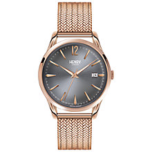 Buy Henry London HL39-M-0118 Women's Finchley Date Bracelet Strap Watch, Rose Gold/Grey Online at johnlewis.com