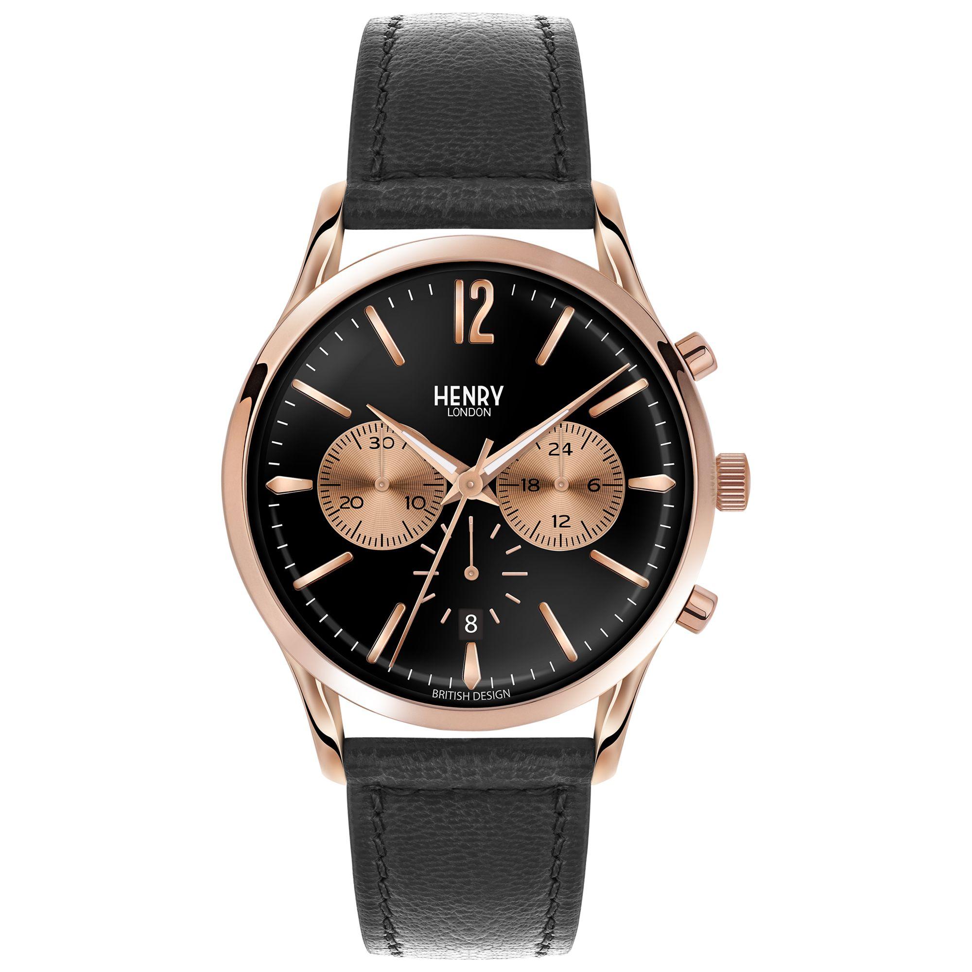Henry London Henry London HL41-CS-0042 Men's Richmond Chronograph Date Leather Strap Watch, Black