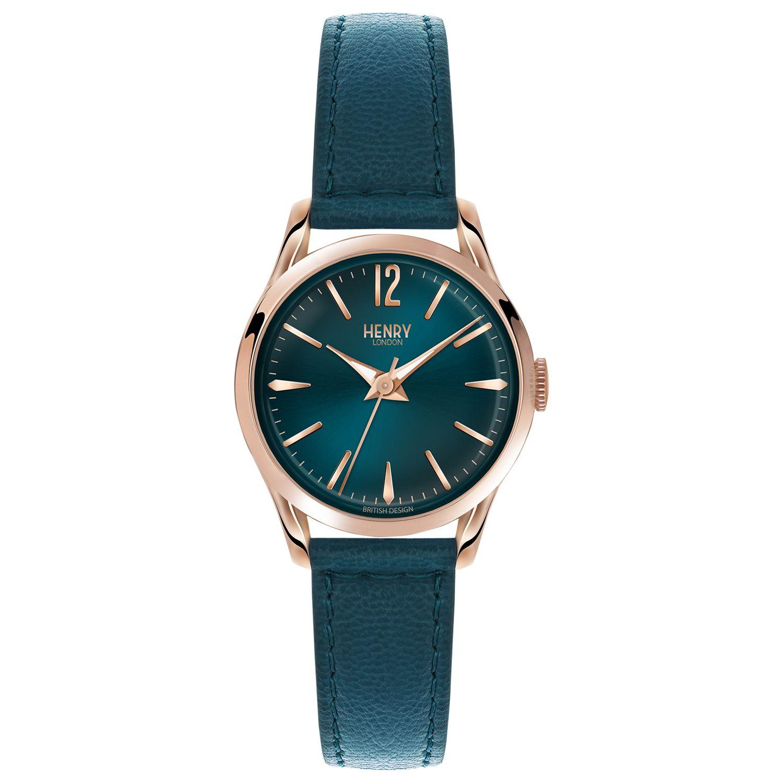 Henry London Henry London HL25-S-0128 Women's Stratford Leather Strap Watch, Teal