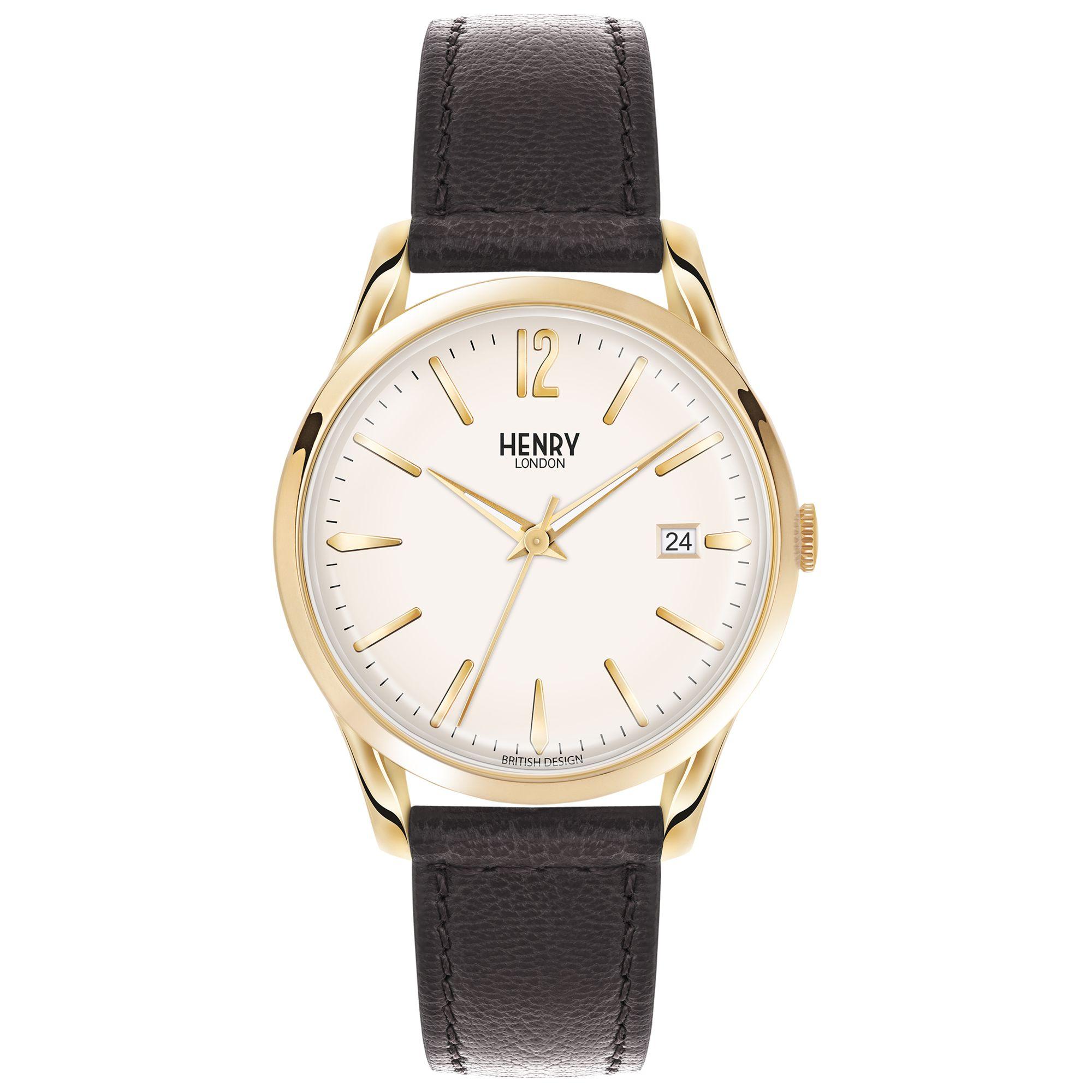 Henry London Henry London HL41-CS-0039 Unisex Westminster Date Leather Strap Watch, Black/White