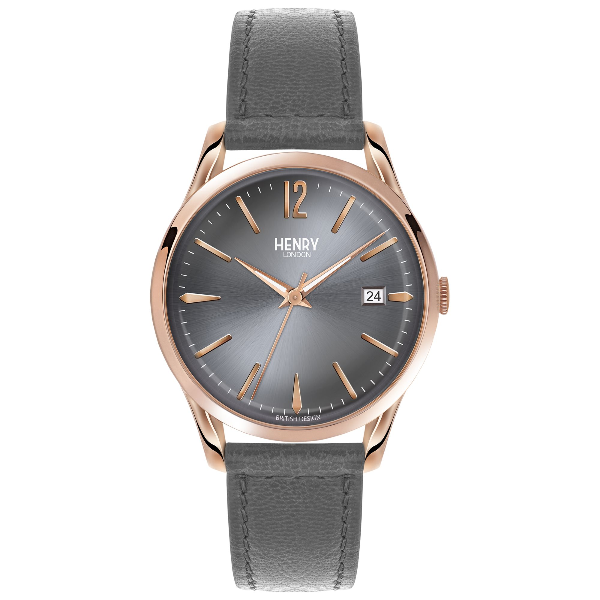 Henry London Henry London HL39-S-0120 Women's Finchley Date Leather Strap Watch, Grey