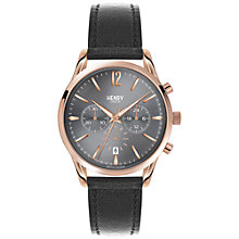 Buy Henry London HL39-CS-0122 Unisex Finchley Chronograph Date Leather Strap Watch, Black/Grey Online at johnlewis.com