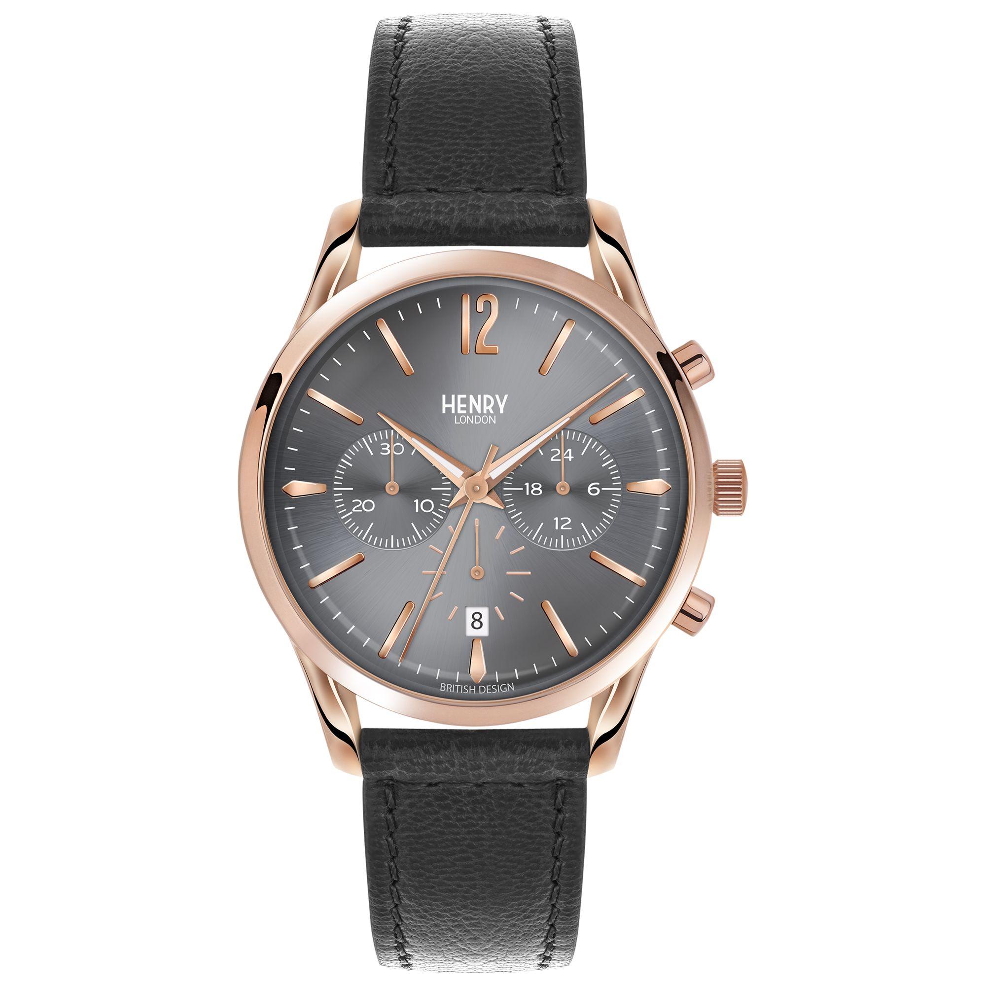 Henry London Henry London HL39-CS-0122 Unisex Finchley Chronograph Date Leather Strap Watch, Black/Grey