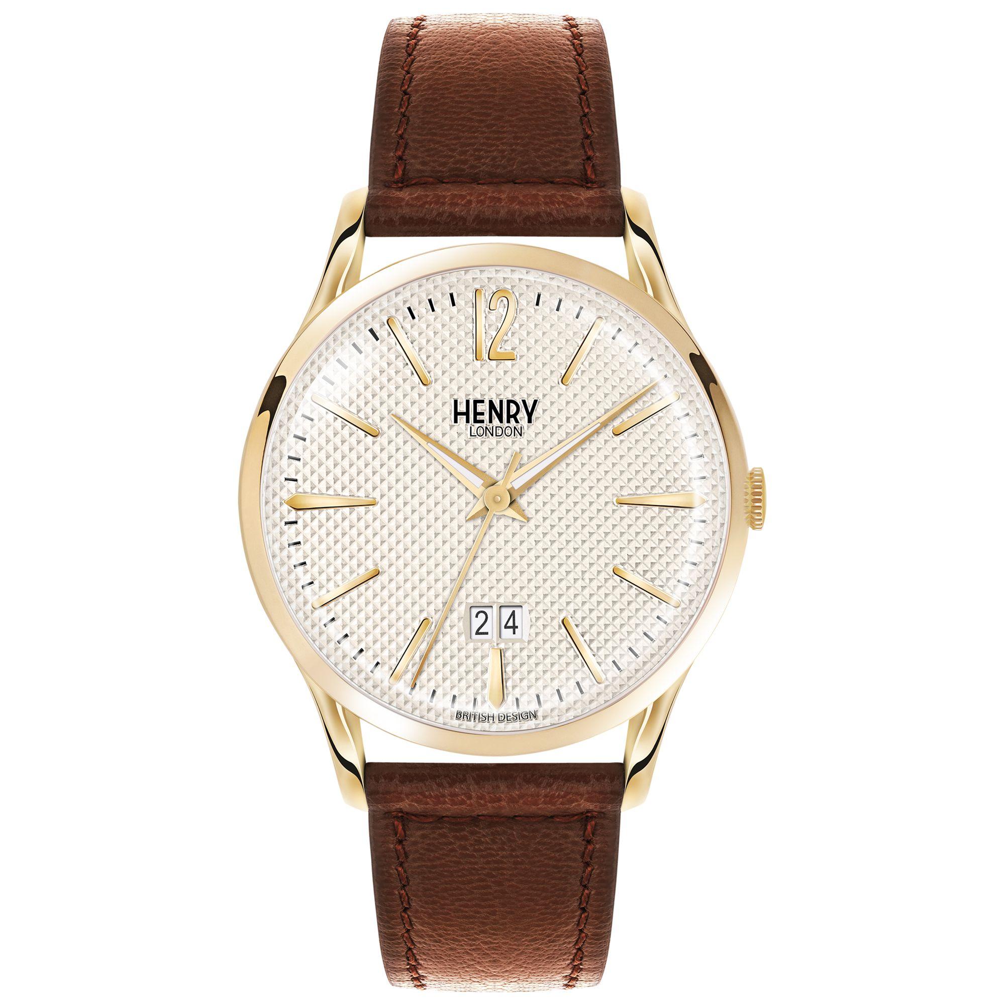 Henry London Henry London HL41-JS-0016 Men's Westminster Jumbo Date Leather Strap Watch, Brown/Cream