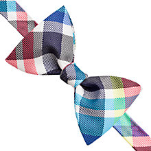 Buy Thomas Pink Jeal Check Self Tie Bow Tie, Grey/Turquoise Online at johnlewis.com