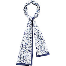Buy Viyella Blossom Print Silk Scarf, Navy/Multi Online at johnlewis.com
