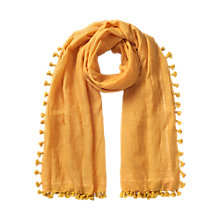 Buy East Silk Blend Pom Pom Scarf, Yellow Online at johnlewis.com