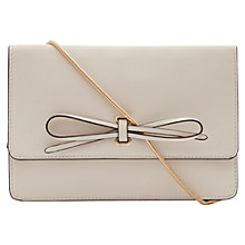 Buy Reiss Farah Leather Bow Front Bag, Cream Online at johnlewis.com