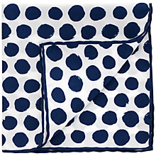 Buy Thomas Pink Hand Painted Spot Silk Pocket Square, Navy/White Online at johnlewis.com