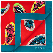 Buy Thomas Pink Blewett Blewett Paisley Silk Pocket Square, Red Online at johnlewis.com