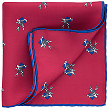 Buy Thomas Pink Layton Heart Print Silk Pocket Square, Deep Pink/Blue Online at johnlewis.com