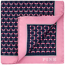Buy Thomas Pink Flamingo Silk Pocket Square, Navy/Pink Online at johnlewis.com