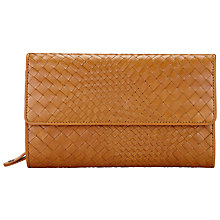 Buy Collection WEEKEND by John Lewis Rosa Weave Leather Extra Large Flap Purse, Tan Online at johnlewis.com