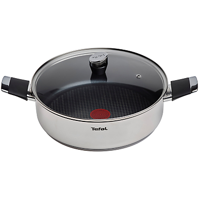 Tefal Emotion Stainless Steel Shallow Pan with Lid, Dia.28cm