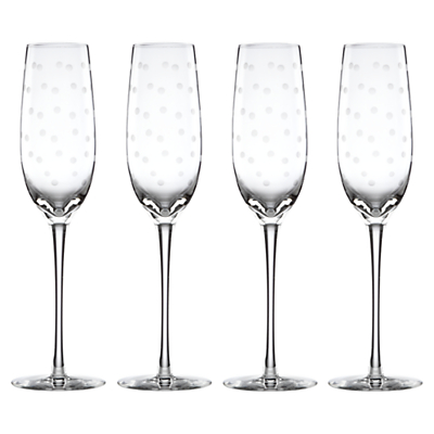 kate spade new york Larabee Dot Etched Flutes, Set of 4