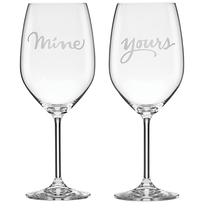 kate spade new york Two Of A Kind 'Mine & Yours' Wine Glasses, Set of 2