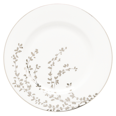 kate spade new york Gardener St Platinum Bone China Salad Plate, Silver/ White