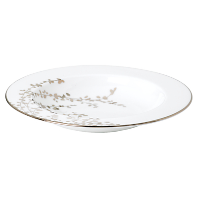 kate spade new york Gardener St Platinum Bone China Pasta Bowl, Silver/ White