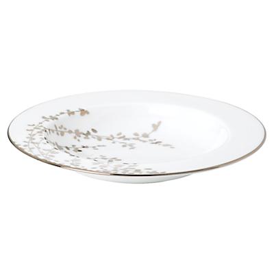 Image of kate spade new york Gardener St Platinum Bone China Pasta Bowl, Silver/ White