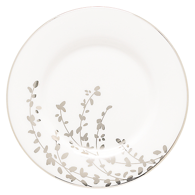 kate spade new york Gardener St Platinum Bone China Saucer, Silver/ White