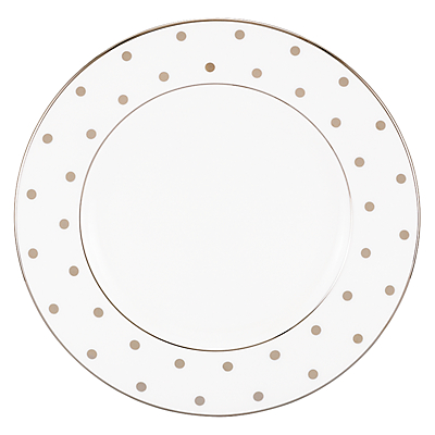 kate spade new york Larabee Road Platinum Bone China Salad Plate, Silver/ White