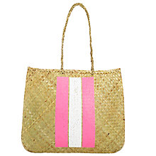 Buy Straw Bag Stripe Screen Print Bag Online at johnlewis.com
