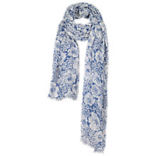 Buy Fat Face Linear Floral Scarf, White/Blue Online at johnlewis.com