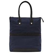 Buy Reiss Ten Contrast Leather Trim Tote Bag, Navy Online at johnlewis.com